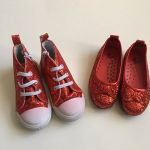 2 Pairs Red Sequin Shoes Size 6 Little Girls